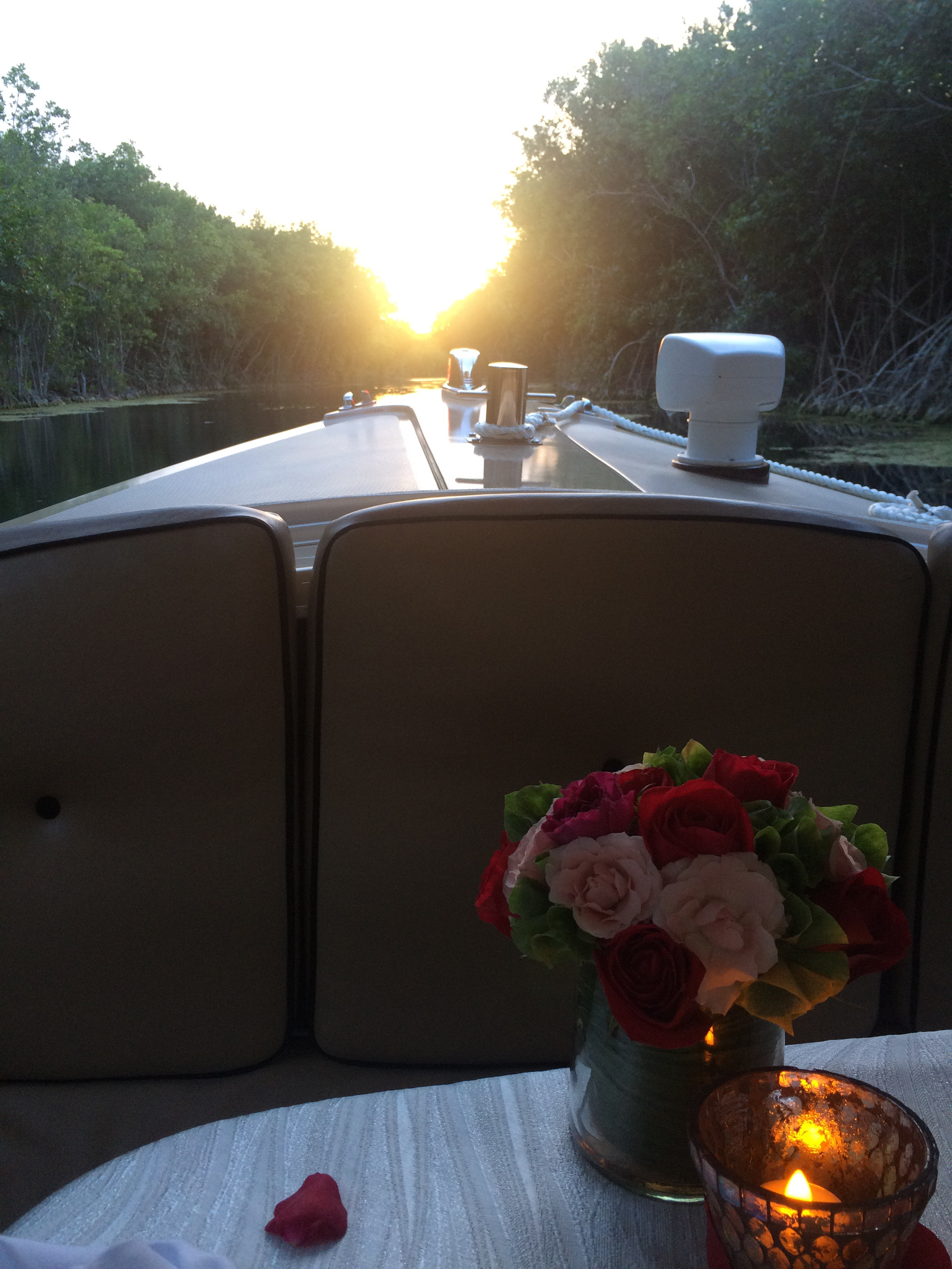Rosewood Mayakoba Boat Ride Dinner at Sunset
