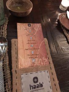 Haab Mayan Dinner Menu